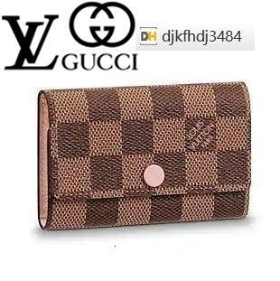 XYWX N41624 6 CLAVE TITULAR patrón de cuadrícula de color rosa cadena de piel de cordero real Caviar solapa del bolso LARGA CADENA carpetas dominantes titulares de la tarjeta CLUTCHES bolso de noche