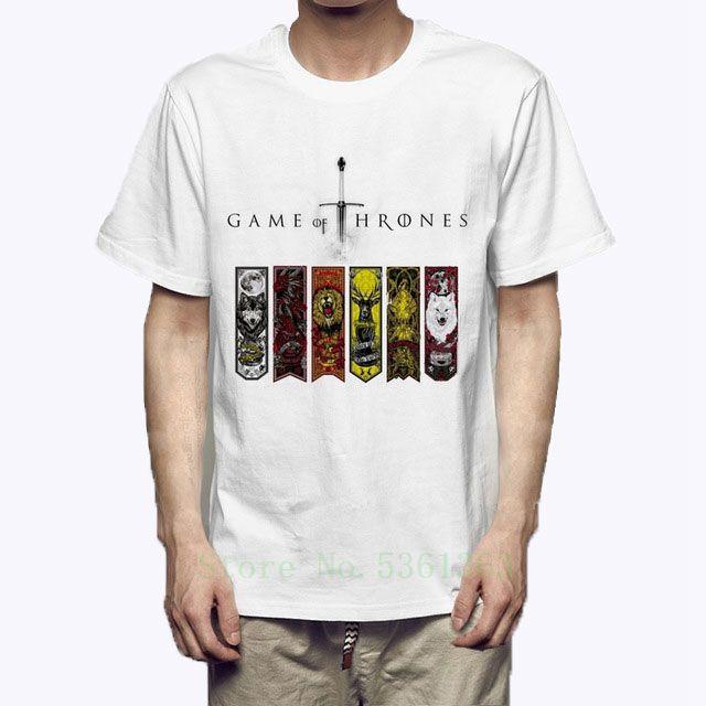 Игра Трон тенниску животных Урожай т рубашки Jon Snow Тирион Ланнистер Tshirt семьи Знак Tops American Drama Tee мужская одежда