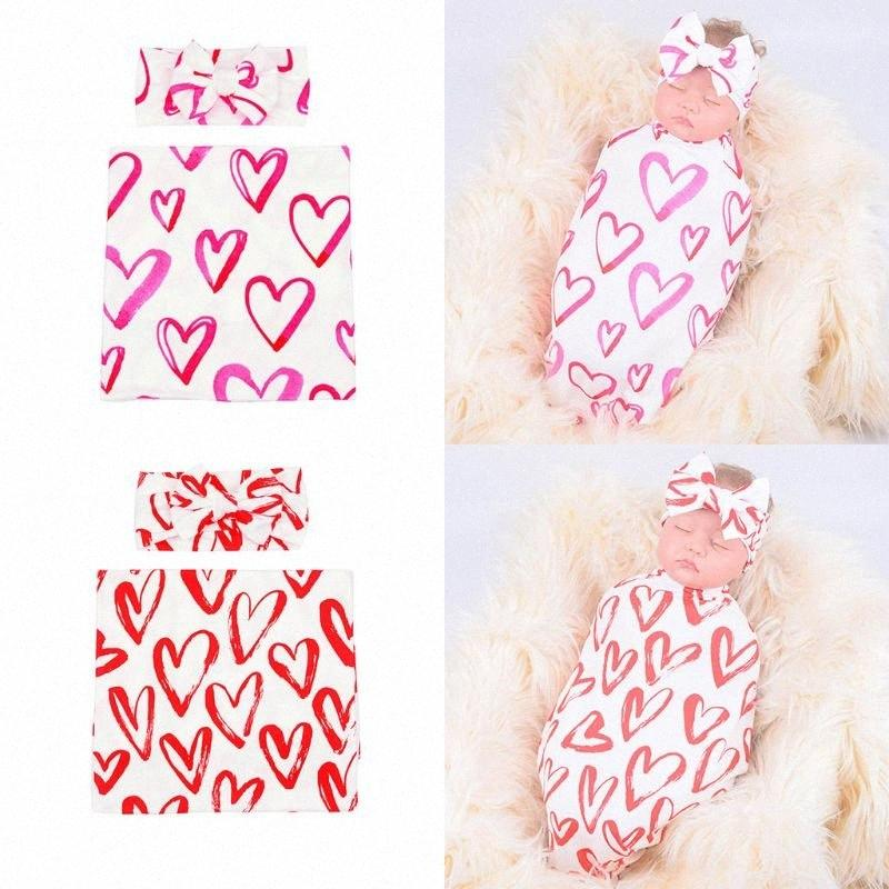 Em forma de coração 2pcs recém-nascido Receber Blanket Bow Headband Set Algodão gavetas Enrole Hairband Kit Criança infantil Abastecimento GsNH #