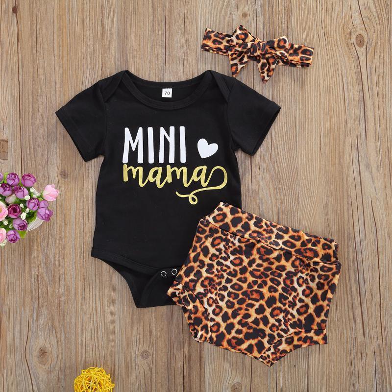 Conjuntos de ropa 3 unids bebé bebé niñas niños ropa nacida dulce letra letra impresión de manga corta tops de mamelucos + pantalones cortos de leopardo + diadema 0-18m