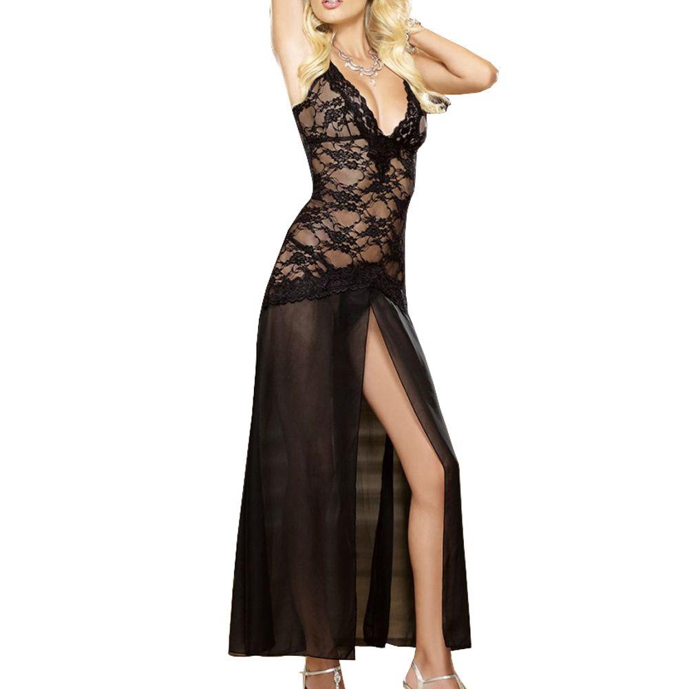 5pcs / lot Sexy Lingerie por Mulheres Dividir V profundo Nightwear Cut-Out Maxi vestido longo vestido Sheer