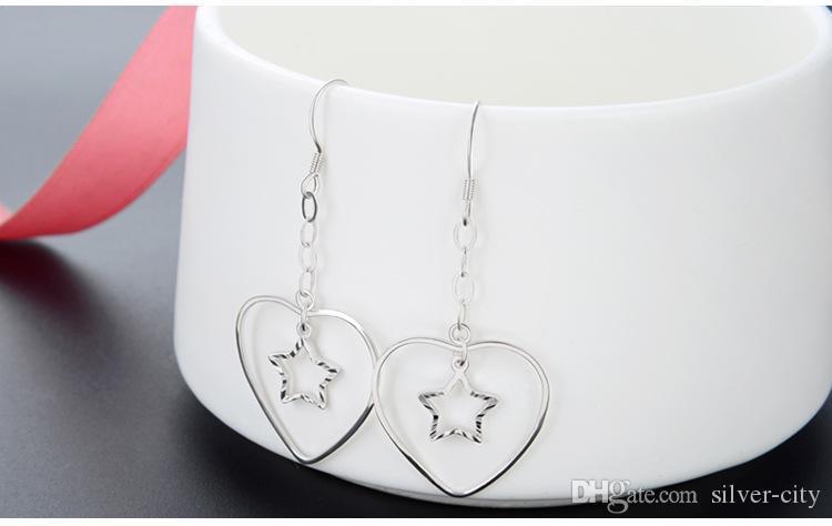 Высокое качество S925 стерлингового серебра женские серьги падения 925 серег женщин серебряные серьги кисточки серебряные серьги сердца серьги D