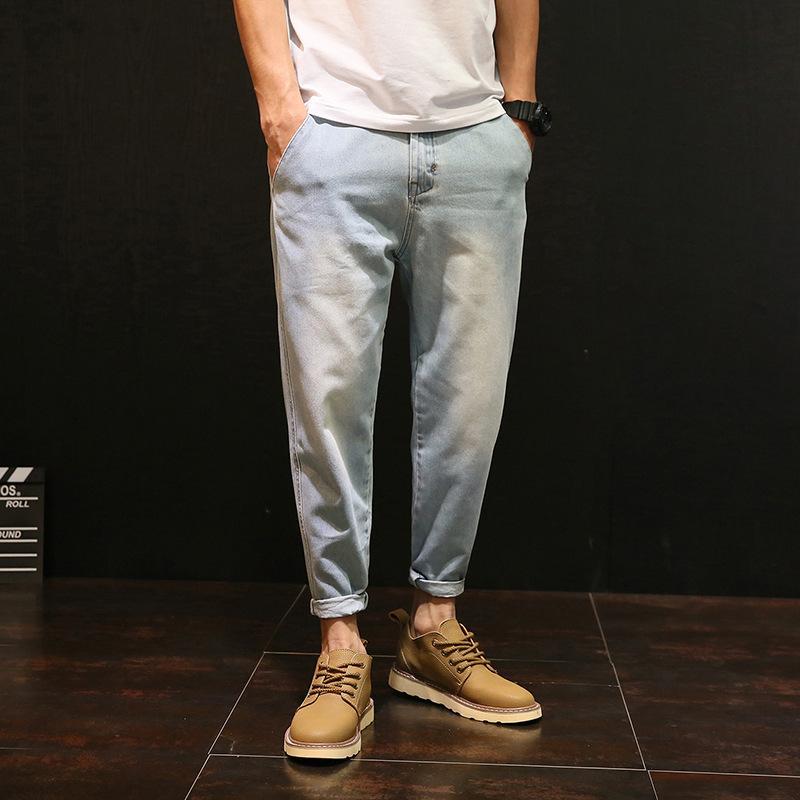 Vintage tornozelo comprimento Mens Jeans punhos Plus Size Sólidos Pants Color Light Blue Jeans Mens Calças 2020 Vestuário OMP205001