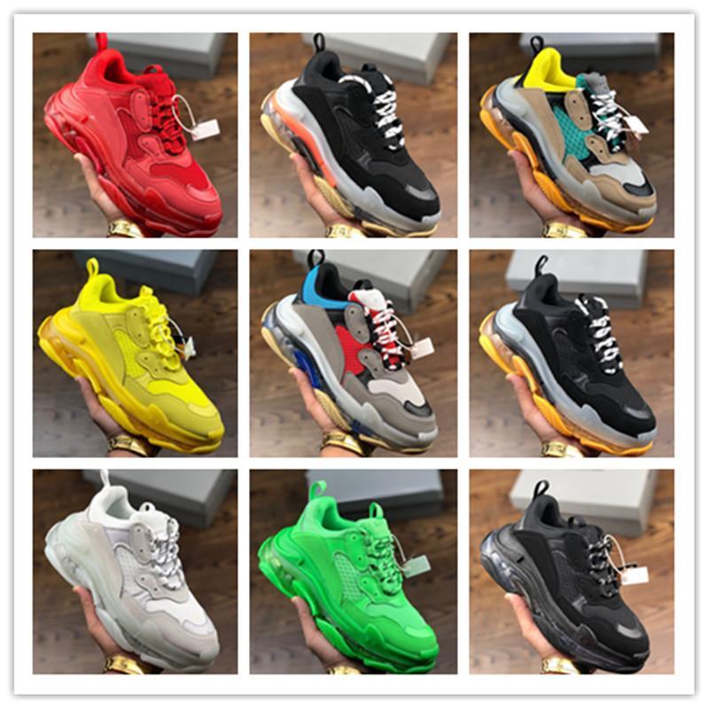 02Platform partie styliste Chaussures triple Femmes Hommes Beige Vert Jaune Baskets Chaussures styliste Paris 17FW Chaussures EUR36-45