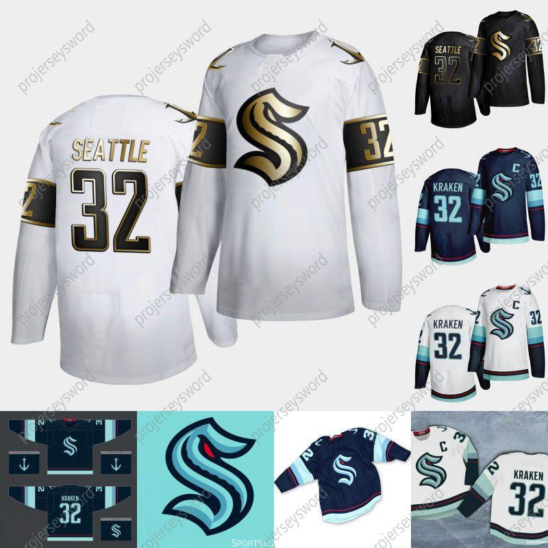 2020-21 Seattle Kraken Golden Edition hockey sobre hielo Jersey Nueva 32a encargo del equipo Hogar ausente de la juventud para mujer para hombre 100% cosido los jerseys del hockey