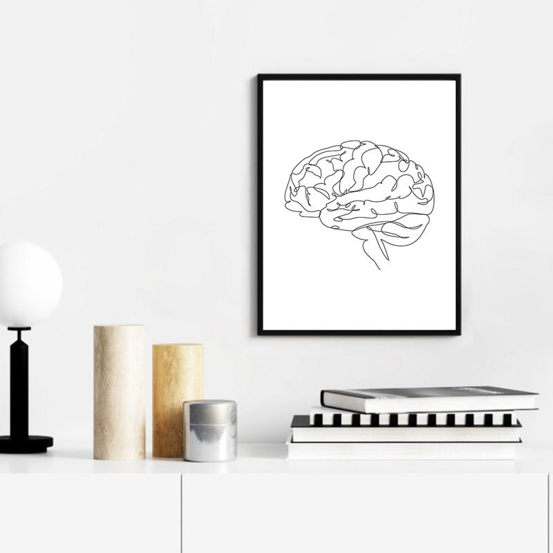 Anatomical Brain Drawing Print Anatomy Medical Art Canvas Painting Picture Doctor Office Decor Brain Poster Line Sketch Picture