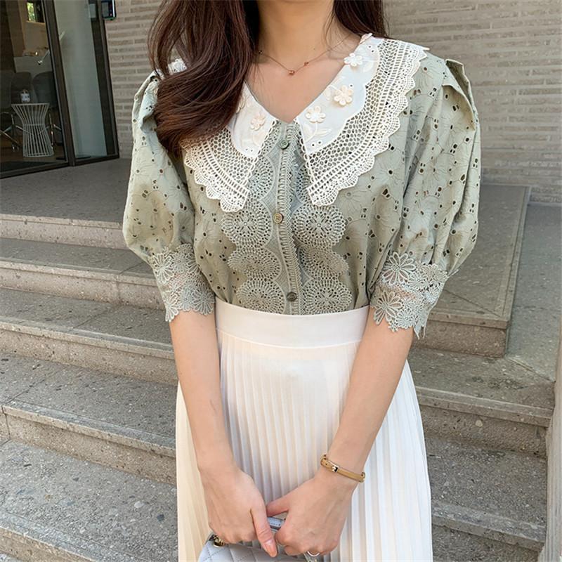Uzaylı Kitty Hollow Out Dantel Bluzlar Kadınlar 2020 Yeni Yaz Kore Stil Vintage Gömlek Puff Kol Yaka Gevşek Kadın Giyim T200803 Tops