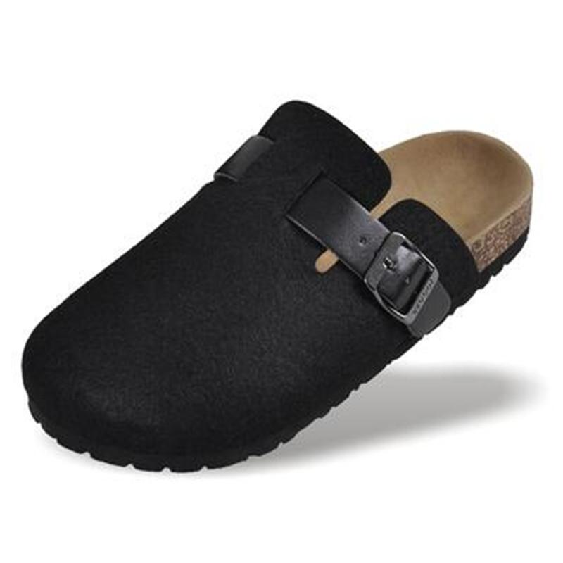 2020 New Shoes Cork Casual Sandals Flats Slides Toe Closed masculino Sandals Buckle unisex Chinelos Black Red Plus Size 44