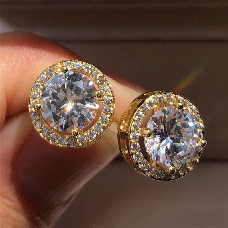 1.25ct rodada moissanite branco diamante halo brilho brilho brincos 18k branco ouro noiva casamento casamento jóias presentes
