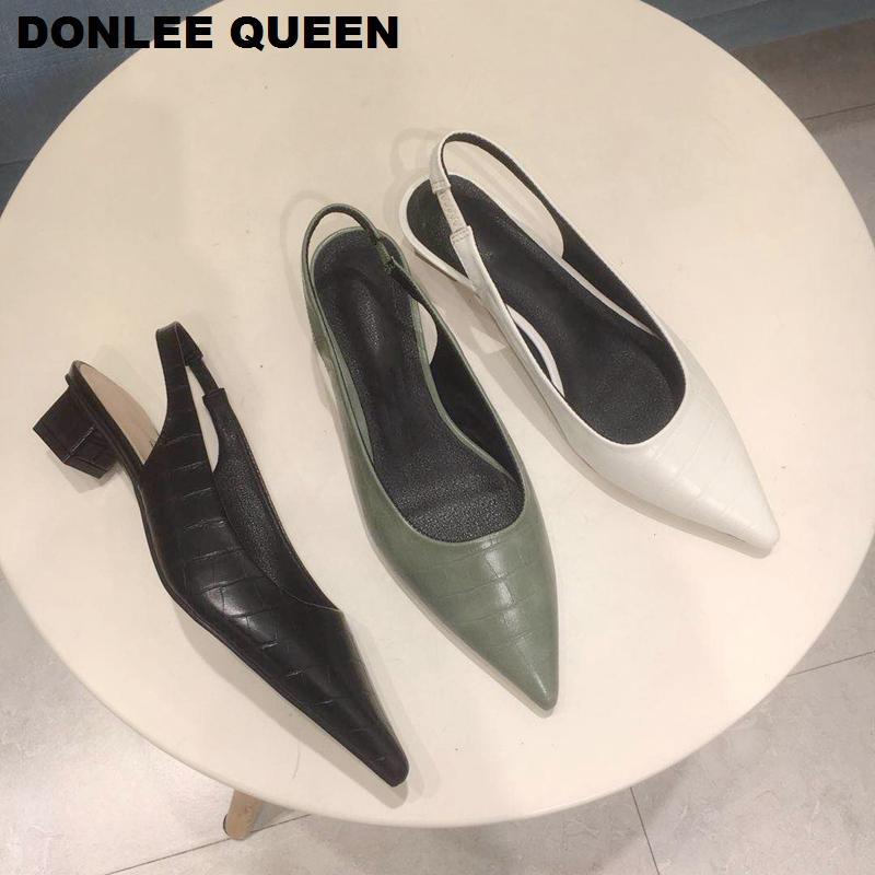 Mode Slingback Sandales Femmes talons bas bout pointu Pompes Slip On Mule chaussures de modèle Pierre Sandales HABILLÉES Mujer