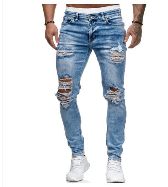 New Stylish Men Designer Jeans Mens Fashion Distrresses Hole Skinny Jeans Men Trend Solid Color Pencil Pants Boy Designer Slim Long Pants