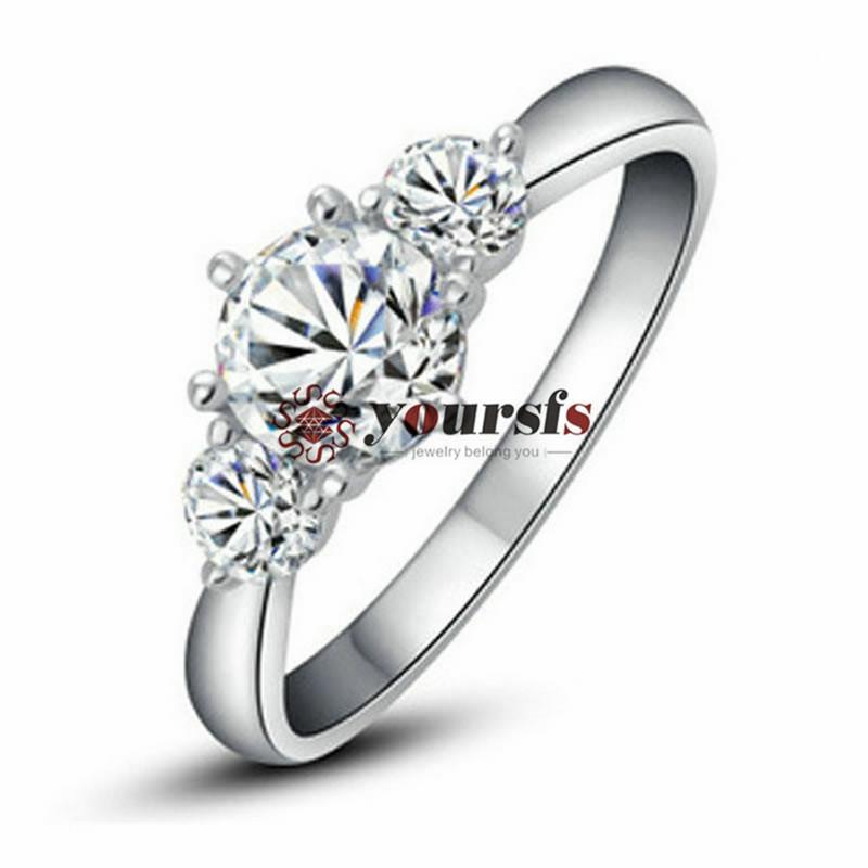 Yoursfs 18k banhado a ouro moda simples anel de coquetel zircão