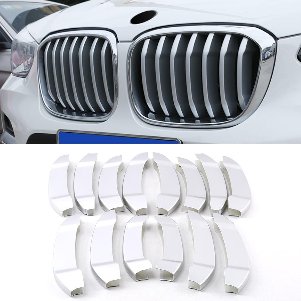 Accessoires voiture avant Grils Grilles Cadre couverture Chrome autocollant Garniture Décoration extérieure pour BMW X3 X4 G01 G02 2018 2019 2020