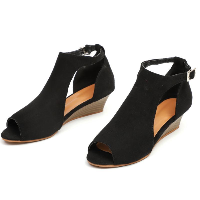 Les femmes Sandales d'été Mode Wedge Sandales Peep Toe Chaussures Chine Wedges Couverture Talon Femmes Chaussures Femmes Sandles Tenis Feminino CS04