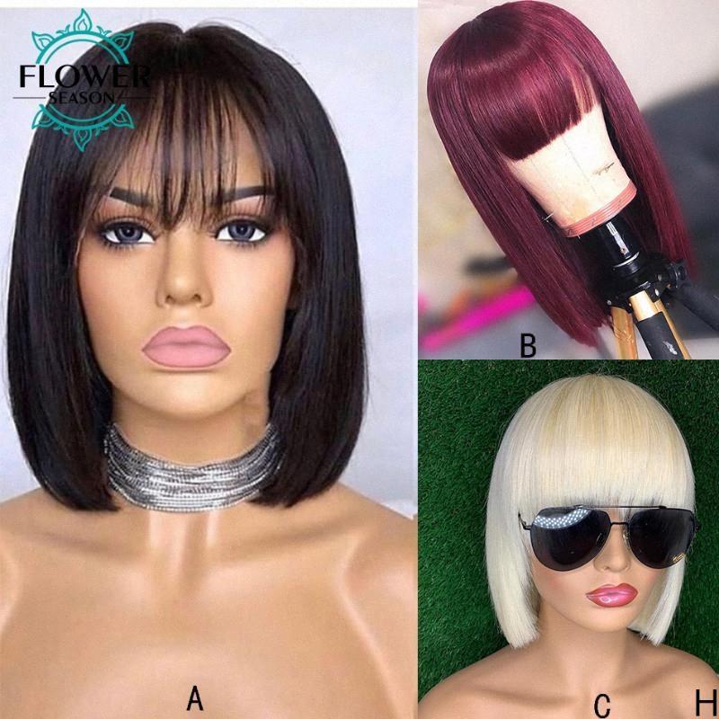 Bob Lace Front perruque de cheveux humains avec une frange 13X6 brésilienne Remy Short Cut perruque blonde couleur rouge naturelle pour les femmes 130% FlowerSeason GRMA #