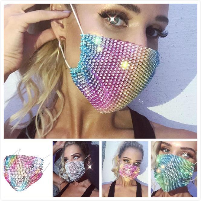 Face Mask Flash Diamond strass étoile Fashionista Nightclub Party personnalisée Personnalisation réutilisable Masque anti-poussière cadeau Anti-brouillard
