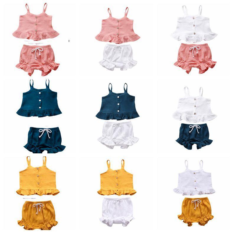 Set di abbigliamento Ragazze bretella Pantaloncini insiemi 2pcs principessa Dress vestiti del bambino Ruffle bambini Outfits Cotton Toddler Suits LSK416