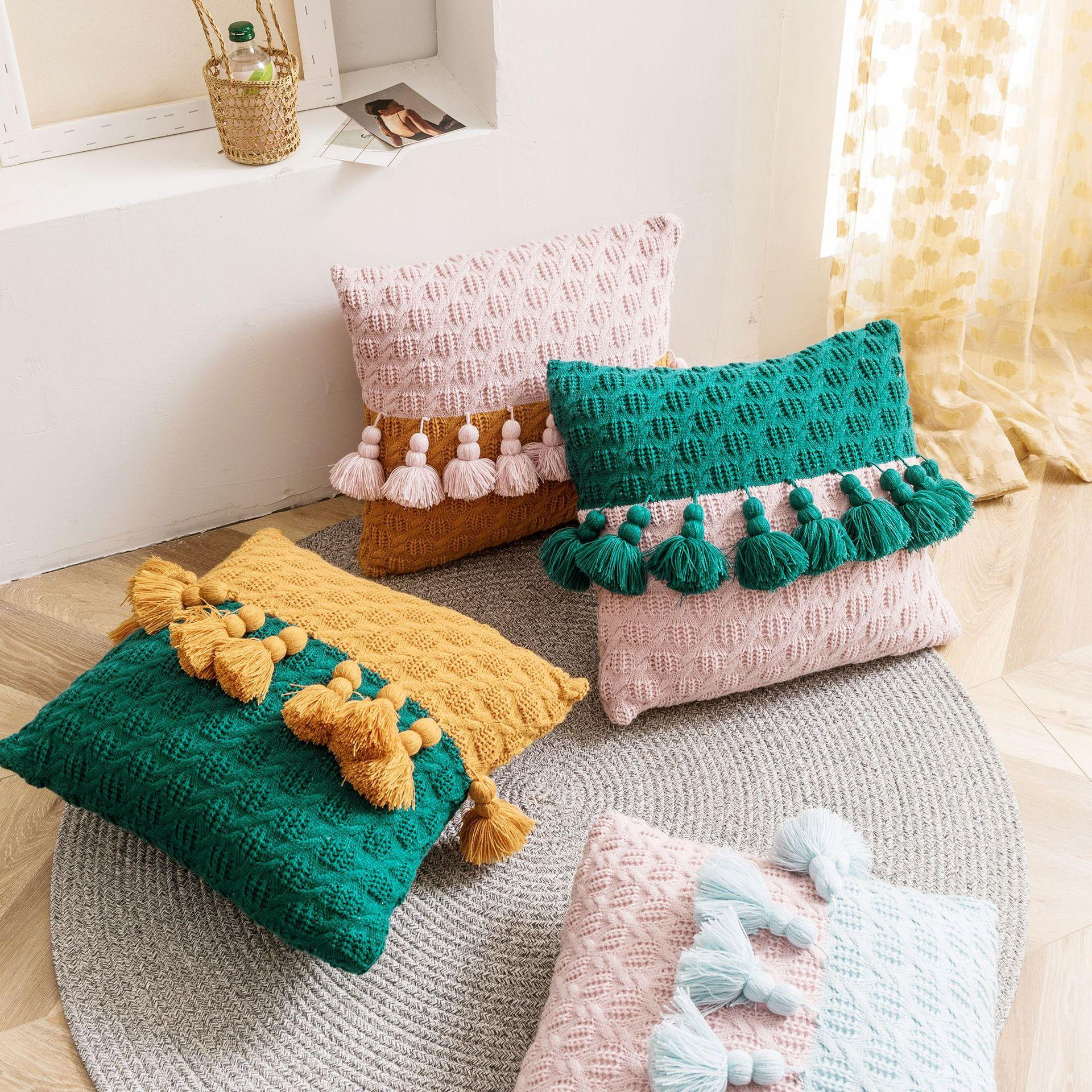 Coussin maille couverture style nordique Taie Glands Square Pillow Couverture 45x45cm Décoration