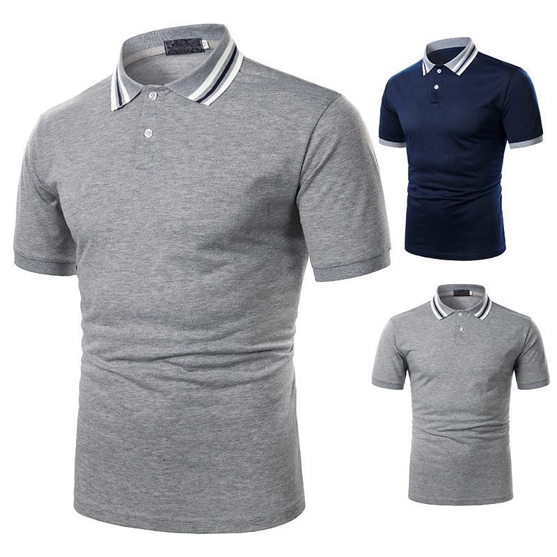 Yaz Tişört Erkekler Rasgele Pamuk Katı Renk Shirt Erkekler Nefes Tee Gömlek Golf Tenis Markalar Giyim