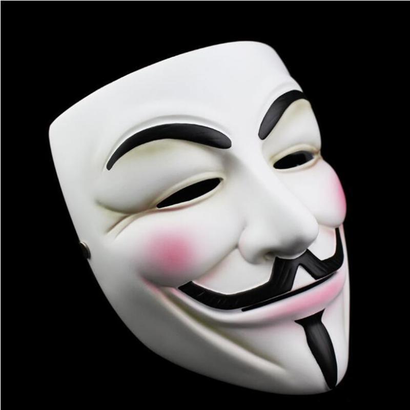 Bianco V maschera mascherata mascherina mascherine Eyeliner di Halloween pieno facciale puntelli del partito di faida Anonymous film Guy YYA200-1 trasporto marittimo