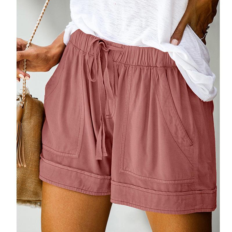 Solido Colore Donne Shorts Nuovo elastica Lace-Up vita allentata casuale Bottoms Femminile estate più il formato Pantaloni corti con tasche