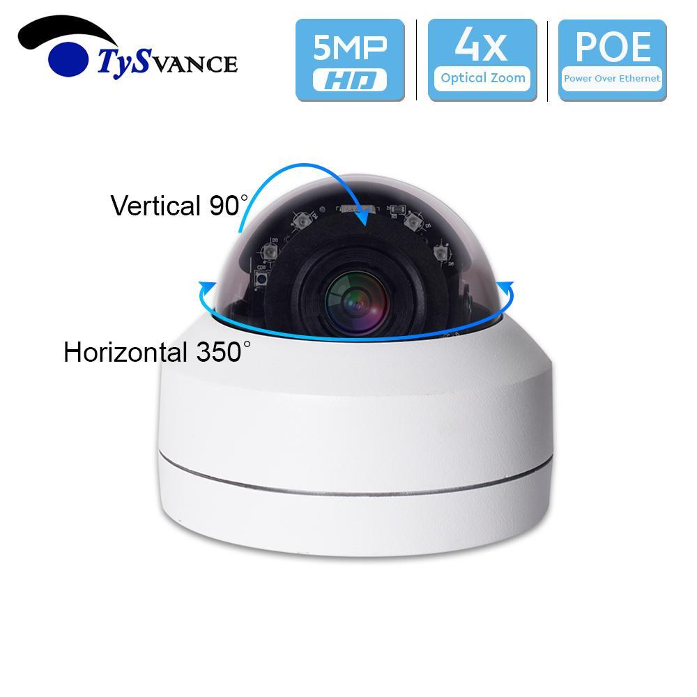 PoE Onvif de 5MP HD H.265 IR cubierta Mini 5.0MP cámara de seguridad CCTV IP PTZ cámara domo zoom óptico de 4X vigilancia del hogar 5Mega