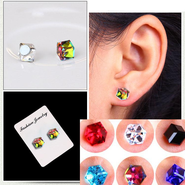 No Hole Earrings Crystal Cubic Zirconia Cube Magnet Stud Earrings Fashion Jewelry Non-pierced earring magnetic stud drop ship