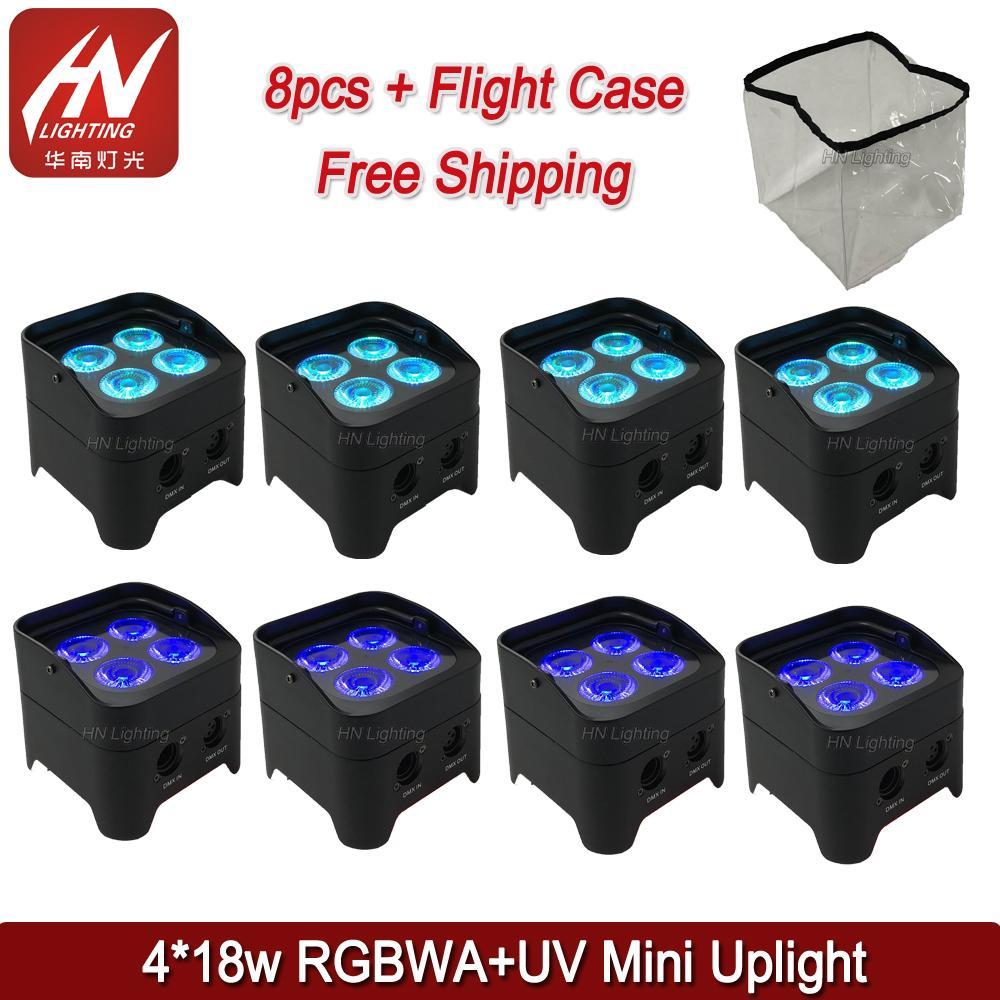 8pcs battery operated led uplights & IR control mini led par rgbwa uv 4X18w wireless dmx led lights wedding dj uplighting with rain cover