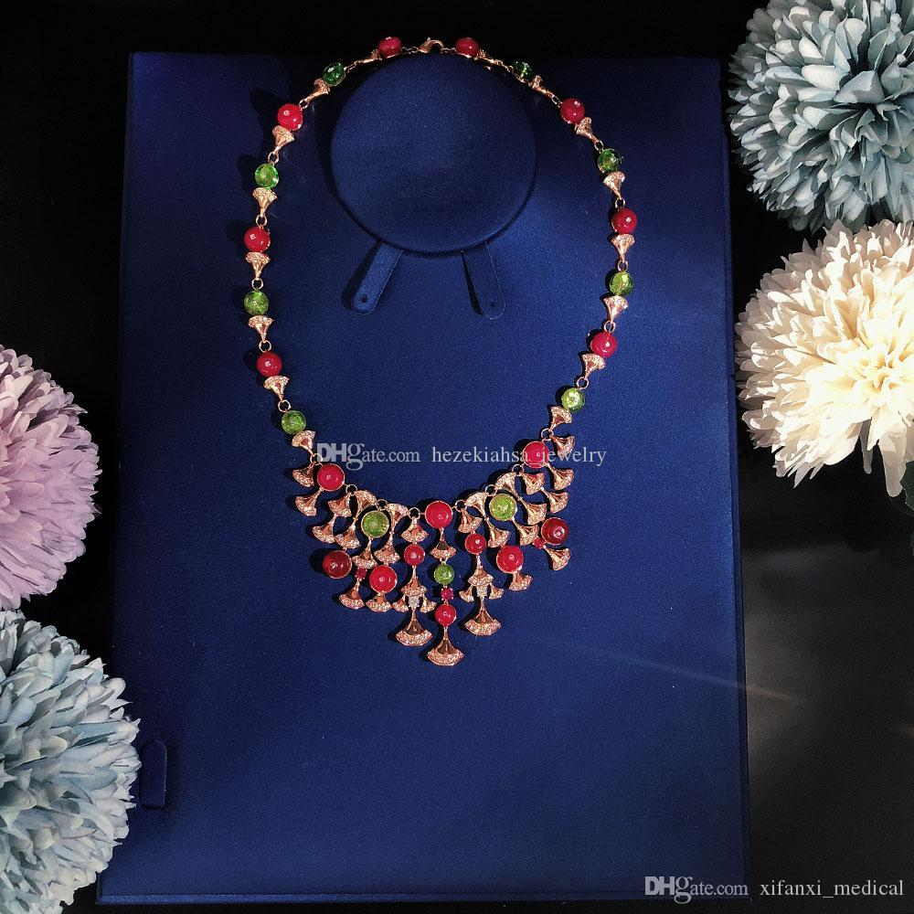 Лидирующий Роскошный бал леди ожерелье партии сбор рубин красный благородный ожерелье круговое Превосходное качество освобождает перевозку груза кисточками Choi Po