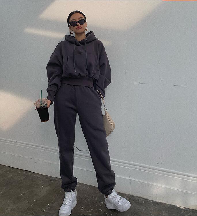 Automne Hiver Streetwear femmes Joggers Ensemble 2 pièces Pantalons Sweat à capuche Deux Piece Set Survêtement en polaire Tenues Sweatpants