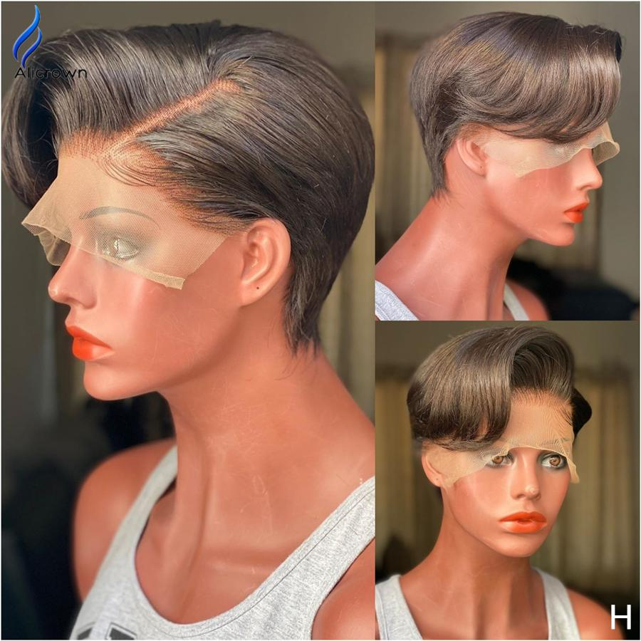 Alicrown Pixie Cut Wigs Short Bob Lace Front Human Hair Wigs Brazilian Lace  Closure Wig Natural Color Non Remy Middle Ration Human Hair Brazilian Wigs