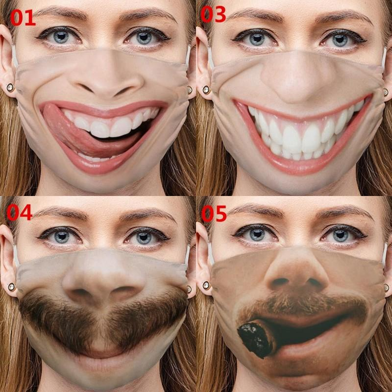 Funny Expression Respirators Emoticon Whiskers Tooth Cigar Cotton Funny Nose Mascarilla Tongue Mouths Washable Face Masks Reusable 4mg C2