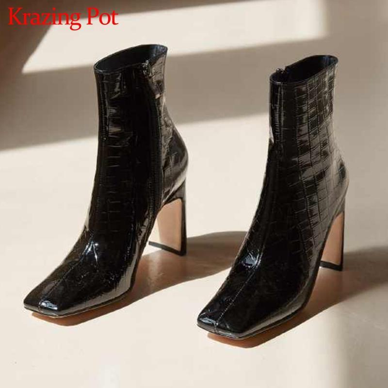 pot krazing 2020 square toe couro de vaca extremas saltos altos casamento versão coreana boate botas europeus de design preguiçoso tornozelo L20