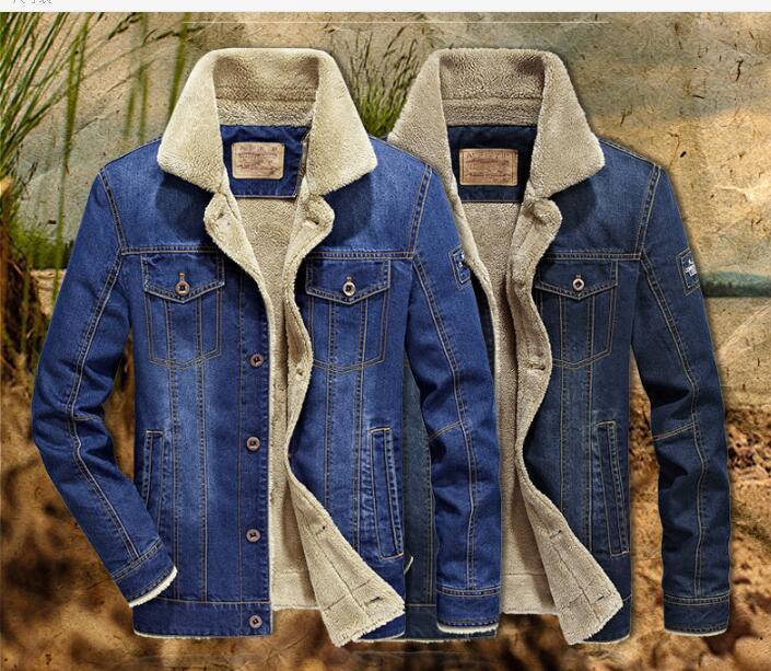 Nuovo caldo autunno della molla di inverno degli uomini del risvolto cappotto casuale casacca più il formato più velluto Giacca di jeans multi-tasca PARKA COATS Outerwear Top