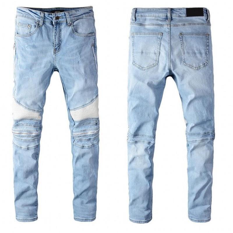 2020 Новые высококачественные мужские джинсы проблемные мотоциклетные байкер Джинсы Рок Skinny Slim Roved Hole Snake Вышивка Бренд Джинсовые штаны Джинсы