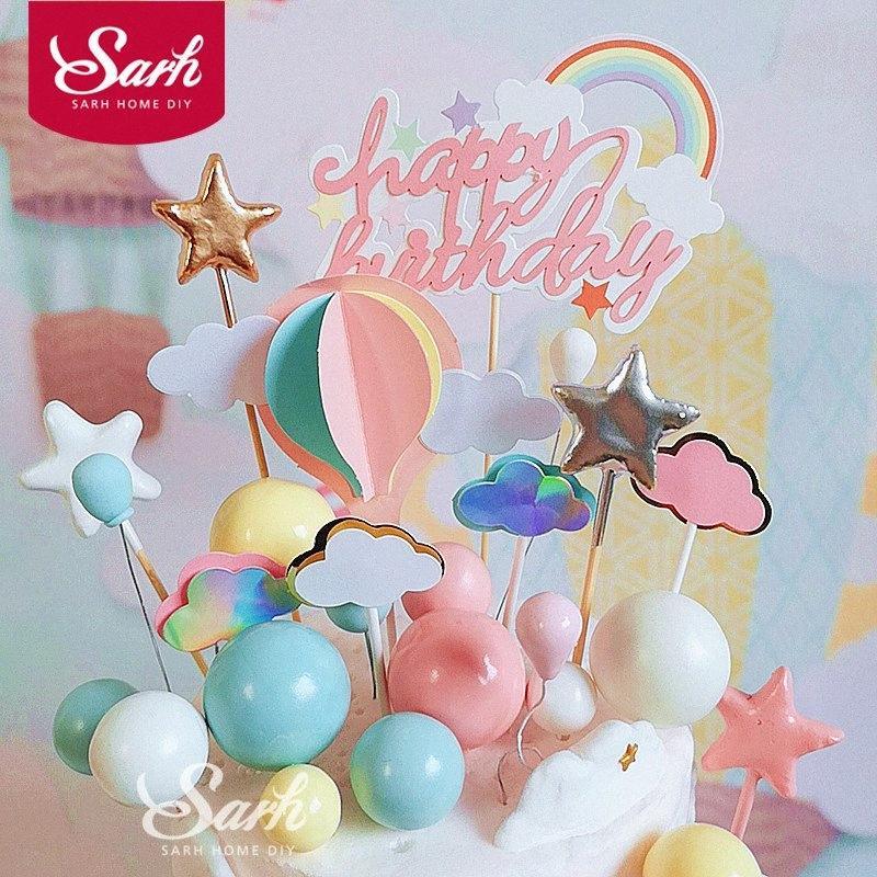 Nube Palla Rosa Giallo Blue Rainbow cake topper per Kid Birthday Party Decoration Dessert torta Decor cottura regali belli LC1H #