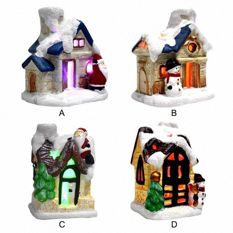 Scène résine Village de Noël Maisons de village avec clorful clignotant LED batterie Utilisez Noël ornamnet u5uA #