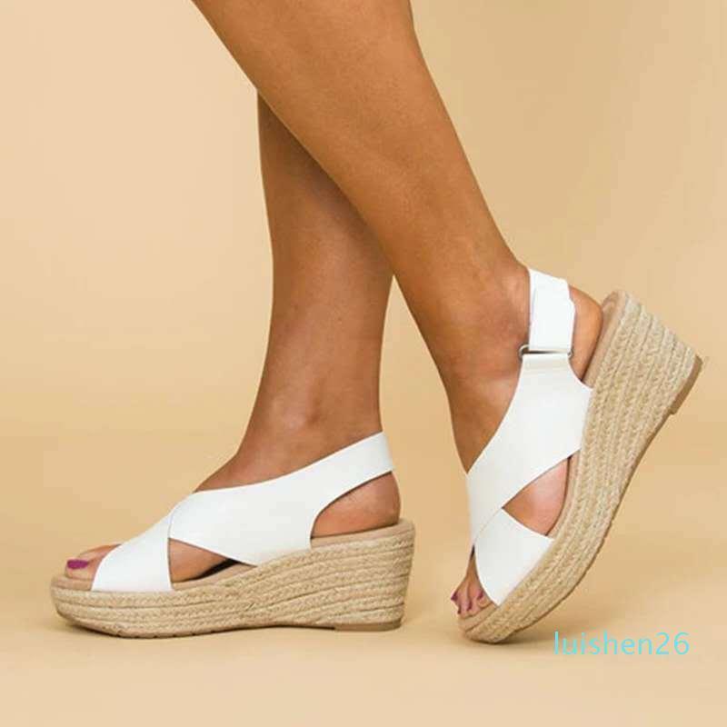 2020 tamanho grande fundo luz sandálias de laser sapatos de cunha femininos feminino sandálias de salto alto alto verão das mulheres calçam chinelos l26 acolchoada