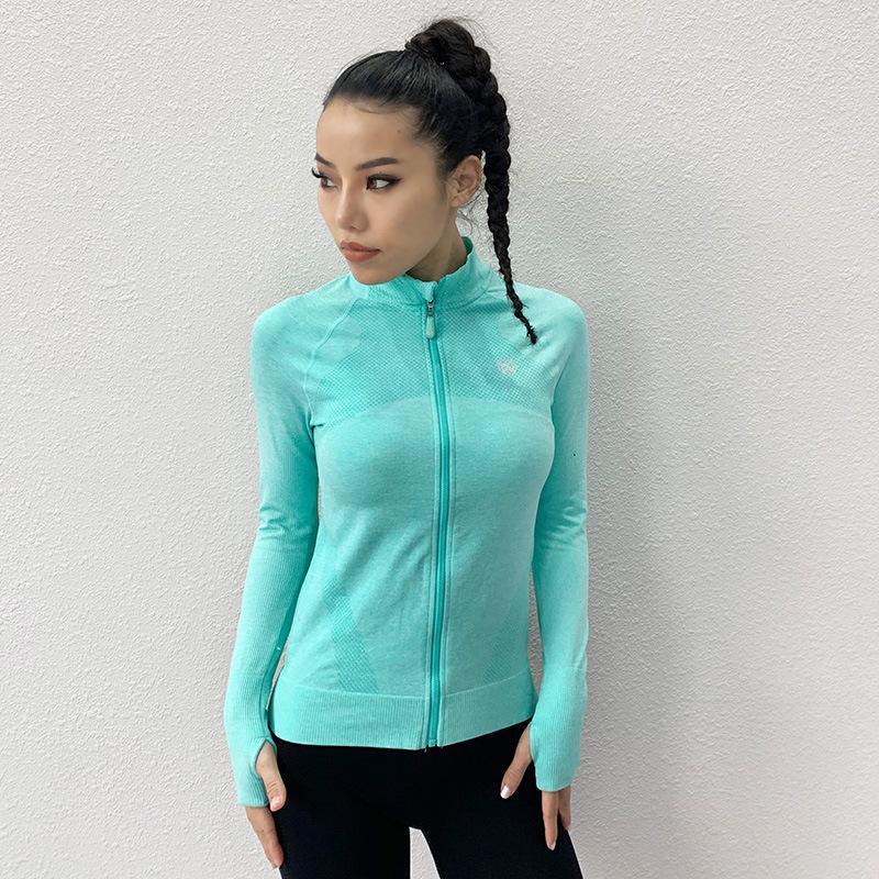 Ajustados sportsT-camisa de cremallera chaqueta de manga larga deportes de la manera camiseta de las señoras de la aptitud correr yoga ropa de secado rápido