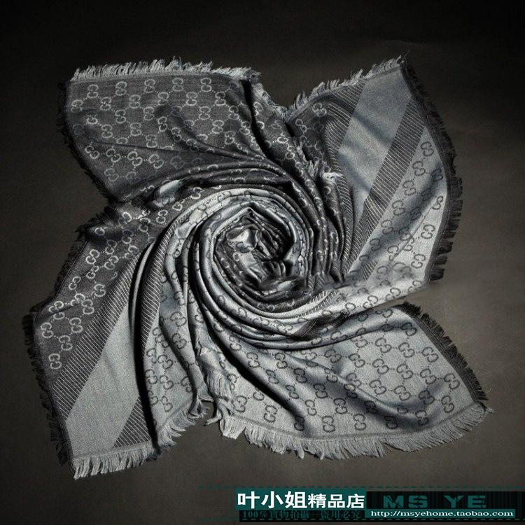 High Quality Celebrity design Wool cashmere Silk Cotton scarf Wrap shawl Men Woman Letter printing Scarves Large square 140*140CM grey