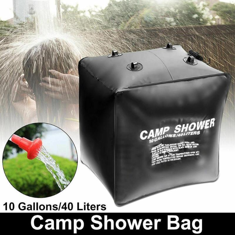 Negro 40L Ducha Solar bolsa de ducha del agua bolsa de hidratación de baño con manguera y cabeza para acampar al aire libre yendo de excursión