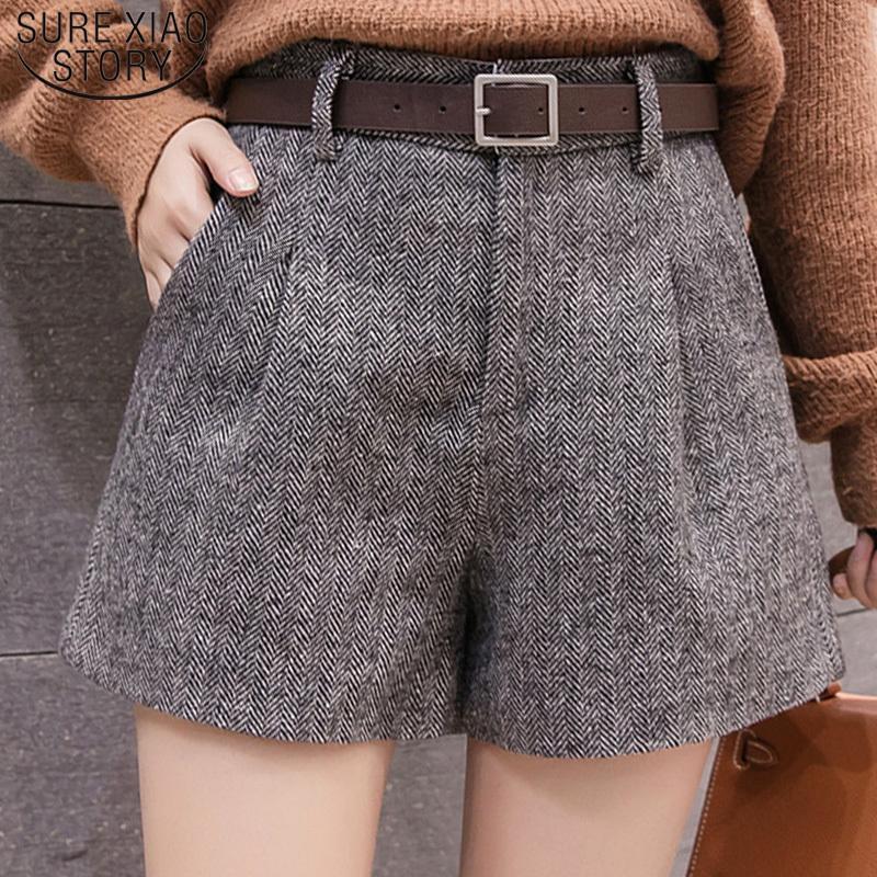 Casual Women Kleidung Herbst und Winter High Waist Shorts 2019 neue Art und Weise Frauen Shorts Schärpen Taschen Wide Leg Shorts 5636 50 T200602