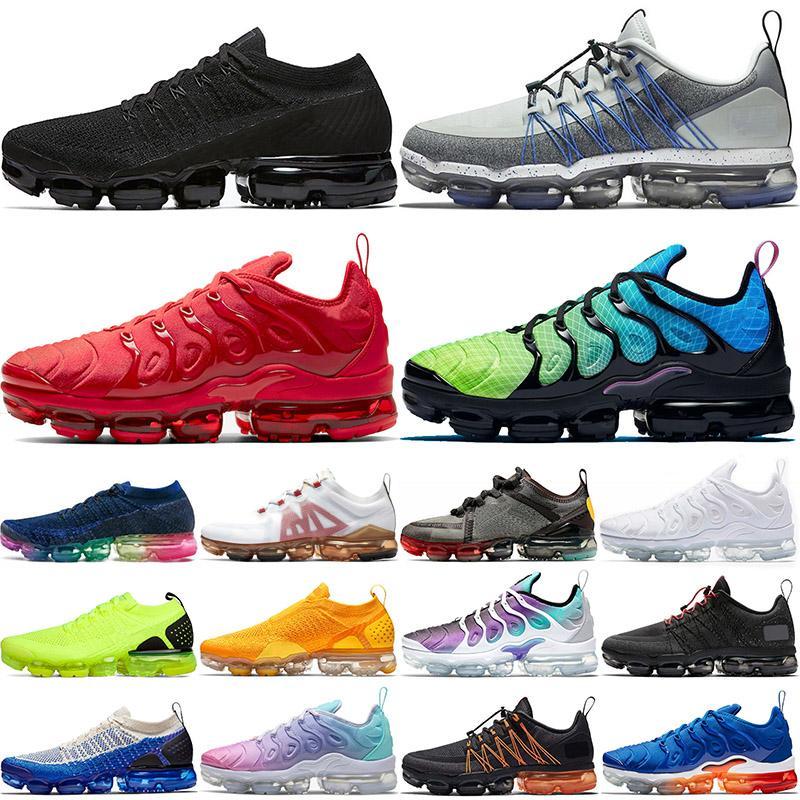 2020 Nike Air Vapormax Tn Plus Flyknit Run Utility off white Größe 13 Triple Black Männer Trainer Laufschuhe Aurora Grün Grau Blau FLIEGEN STRICK University Gold Frauen Turnschuhe