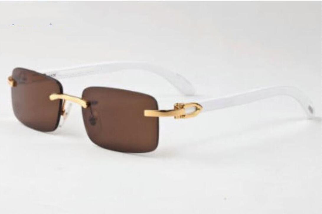 HOT occhiali da sole sportivi di moda per gli uomini liberi quadrati di bufalo lenti senza montatura di corno da sole vintage frame di grandi dimensioni in metallo oro briciolo della scatola