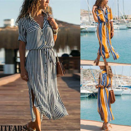 US STOCK Women Summer Boho Party Evening Beach Dresses Long Maxi Dress Sundress