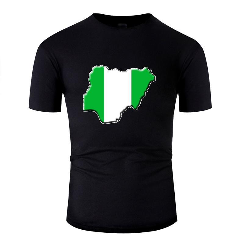 La nueva llegada para los hombres Casual camiseta unisex Comics Nigeria adulto Mapa de la bandera camisetas gris sólido de alta calidad de color