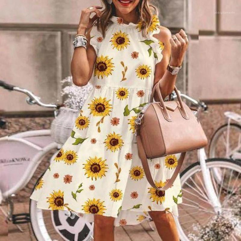 Abbigliamento Donna senza maniche vestito casuale delle donne di Fashion Designer abiti a pois a contrasto di colore o collo Ruffle