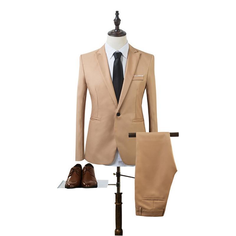 CYSINCOS 2020 الجديدة 2 قطعة الأعمال السترة + سروال البدلة مجموعات الرجال أزياء الخريف الصلبة سليم الزفاف مجموعة خمر الكلاسيكية السترة البدلة