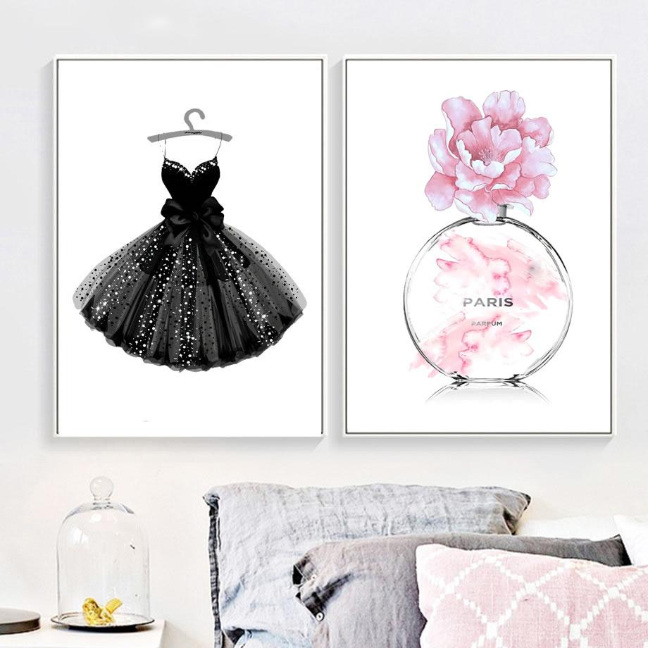 Canvas Painting Nordic Posters Fashion Dress Handbag Paris Perfume Art Hd Print Wall Pictures Modular For Living Room Home Decor