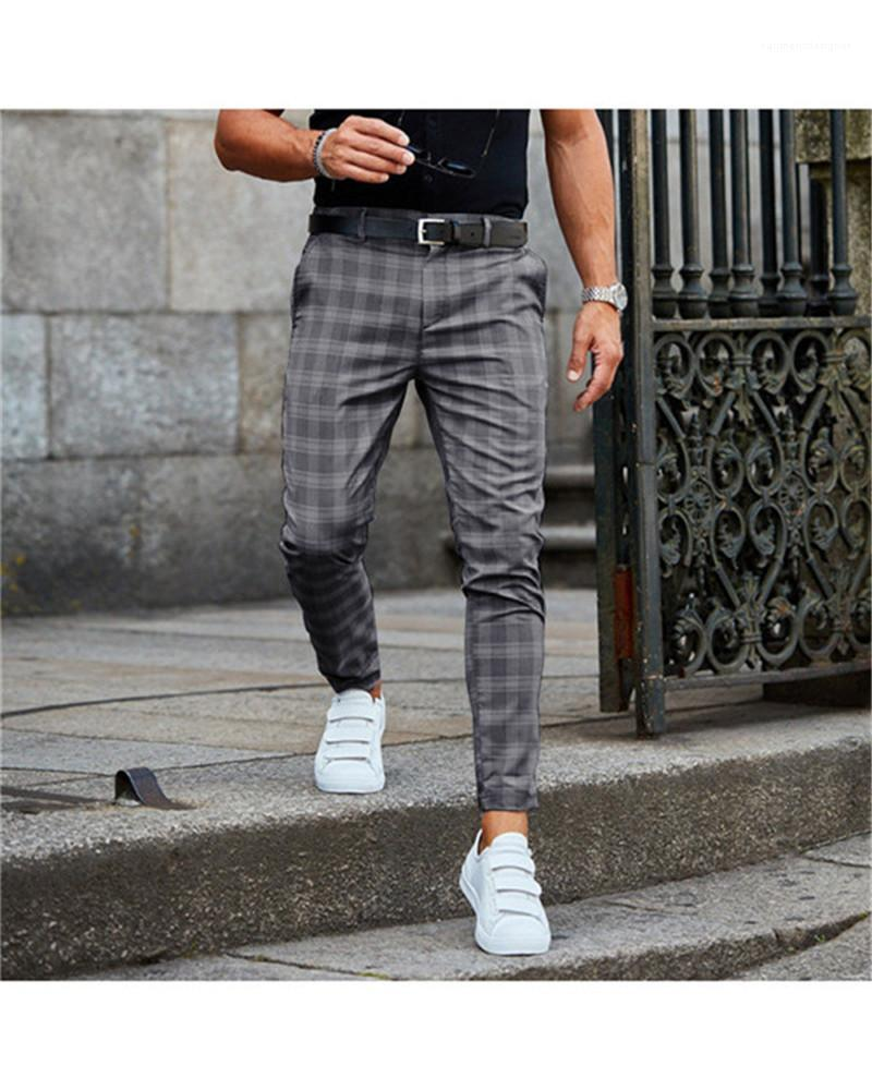 Button Mid Pantaloni a vita Vola con tasche Uomo Fashion Style pantaloni a scacchi matita Pantaloni Casual regolare
